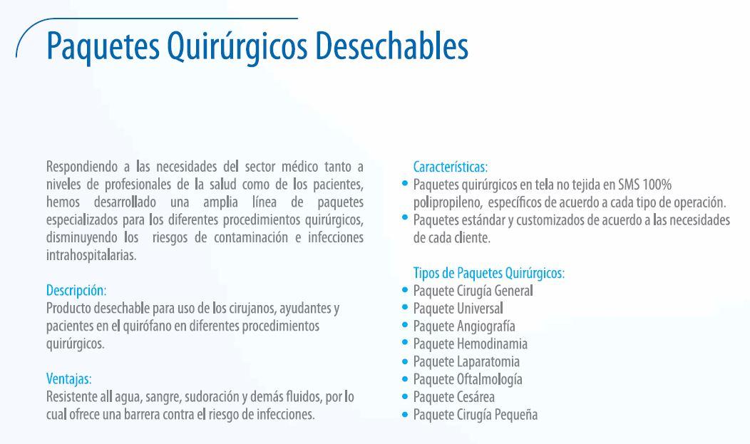 Paquetes Quirúrgicos Desechables
